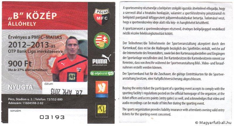 belépőjegy  Pécsi Mecsek FC - Matias - Budapest Honvéd FC 0 3 efadce3463