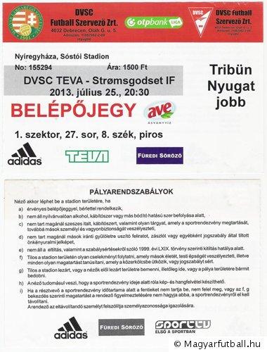 belépőjegy. Tölts fel te is saját képeket! » Debreceni Vasutas SC-TEVA - Strømsgodset  IF 2013 528dde82cc